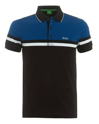 Mens Paule 5 Polo, Central Stripe Black Polo Shirt