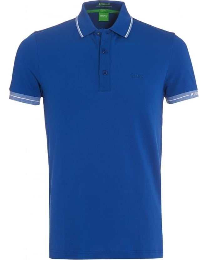 Hugo boss green mens paule polo shirt royal blue tipped polo for Hugo boss green polo shirt sale