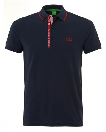 Mens Paulie 4 Polo Shirt, Slim Fit Placket Stripe Navy Polo