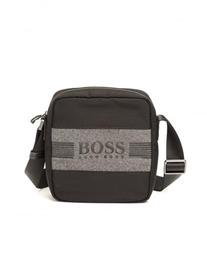 Hugo Boss Green Mens Pixel F_S Shoulder Pouch Black Bag