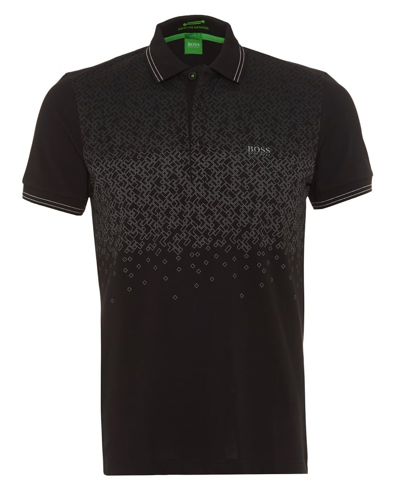Hugo boss green mens polo shirt paule 1 geometric black polo for Hugo boss green polo shirt sale