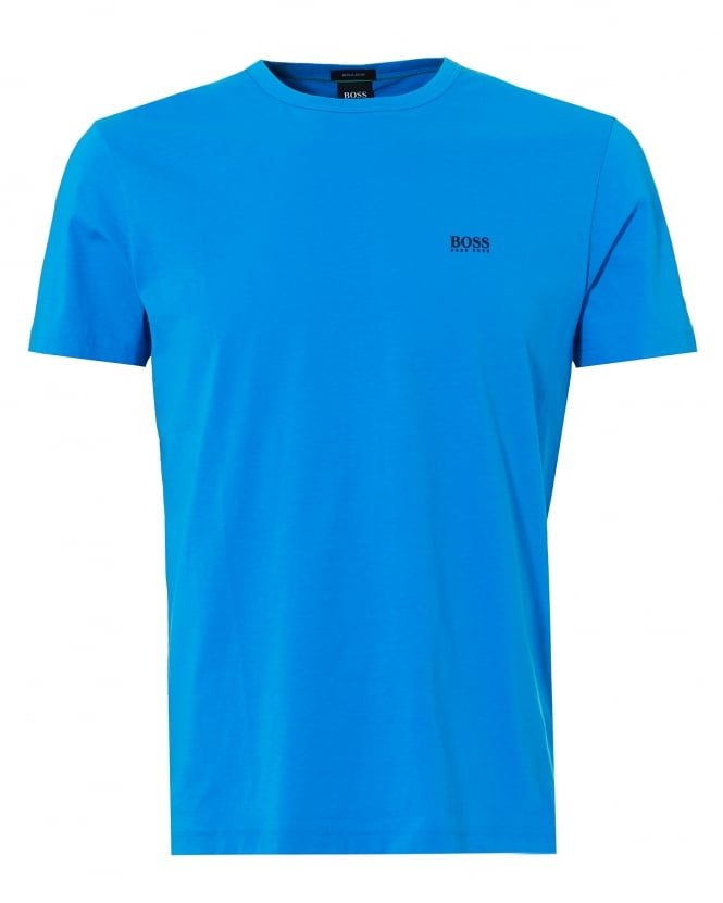 BOSS Athleisure Mens Rear And Chest Logo T-Shirt, Crew Neck Blue Astor Tee