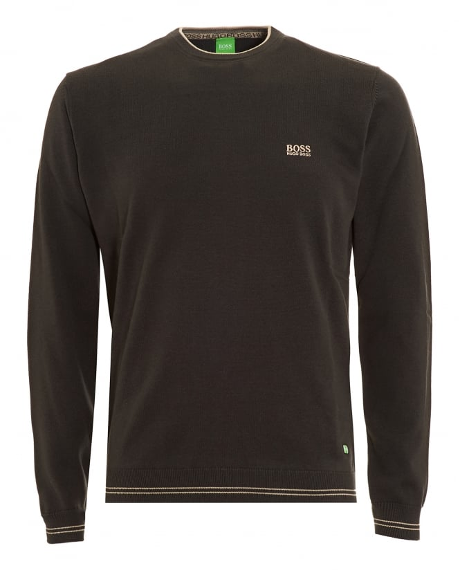 Hugo Boss Green Mens Rime Jumper, Charcoal Grey Piped Sweater