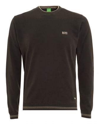 Mens Rime Jumper, Charcoal Grey Piped Sweater