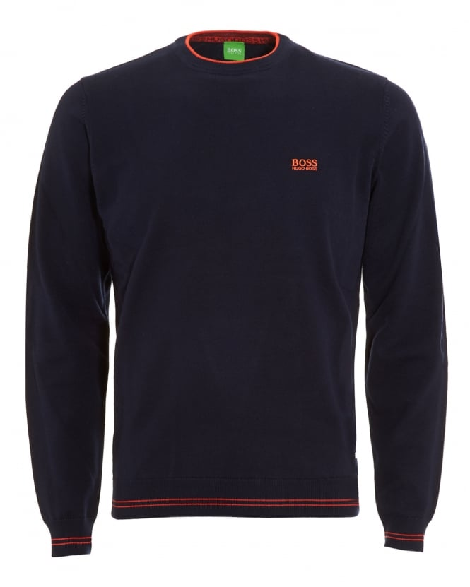 Hugo Boss Green Mens Rime Jumper, Navy Blue Piped Sweater