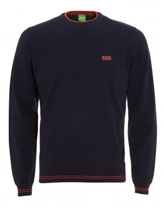 Mens Rime Jumper, Navy Blue Piped Sweater