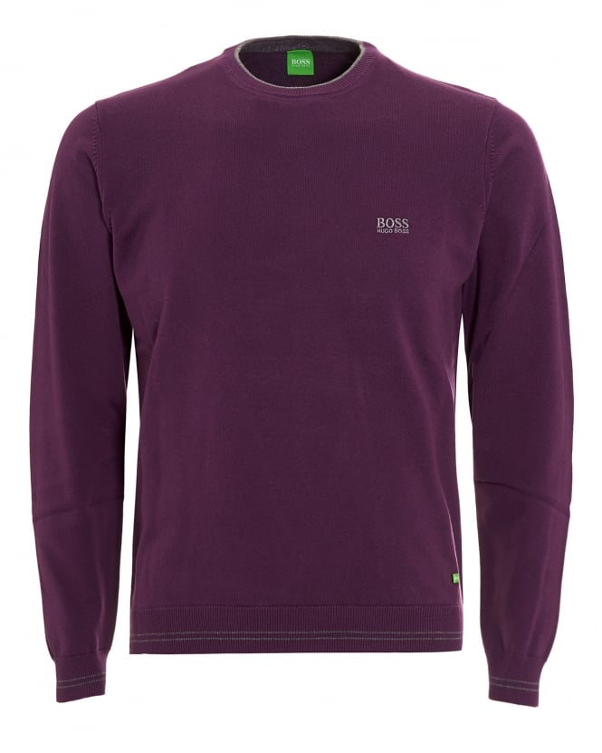 Hugo Boss Green Mens Rime Jumper, Purple Piped Sweater
