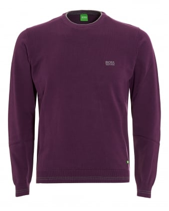 Mens Rime Jumper, Purple Piped Sweater