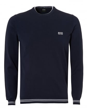 Mens Rime Knit, Crew Neck Navy Blue Jumper