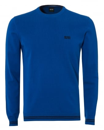 Mens Rime Knit, Crew Neck True Blue Jumper