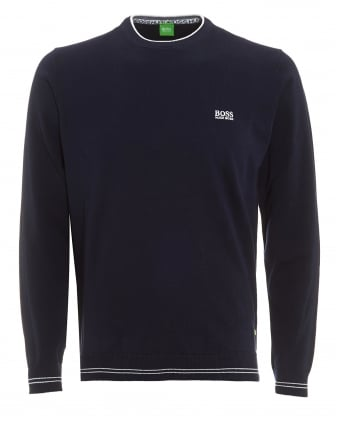 Mens Rime S17 Jumper, Navy Blue Piped Slim Fit Sweater