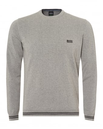 Mens Rime_S18 Jumper, Crew Neck Grey Melange Sweater