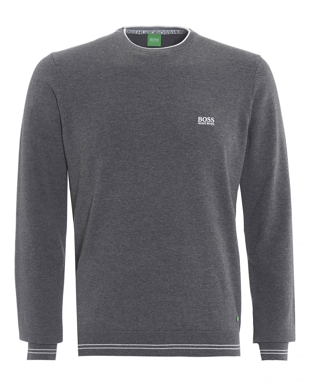 Mens Rime Sweatshirt, Piped Crew Neck Grey Logo Jumper