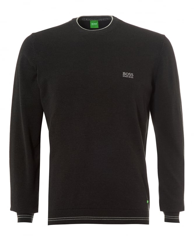 Hugo Boss Green Mens Rime_W17 Jumper, Black Melange Charcoal Sweater