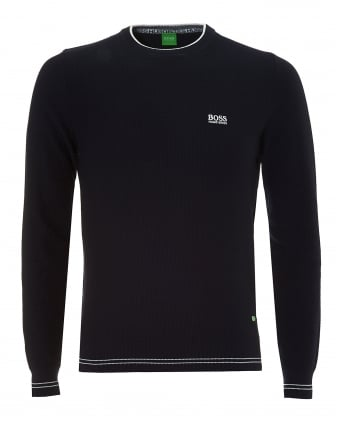 Mens Rome Jumper, Waffle Knit Navy Blue Sweater