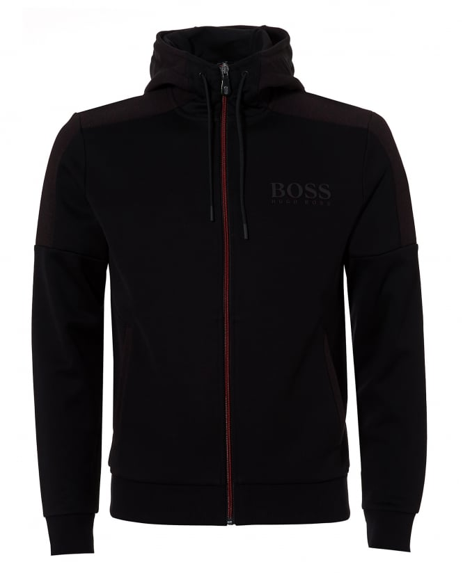 BOSS Athleisure Mens Saggy Hoodie, Contrast Zip Black Jacket