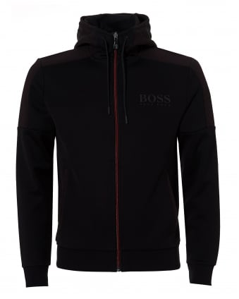 Mens Saggy Hoodie, Contrast Zip Black Jacket