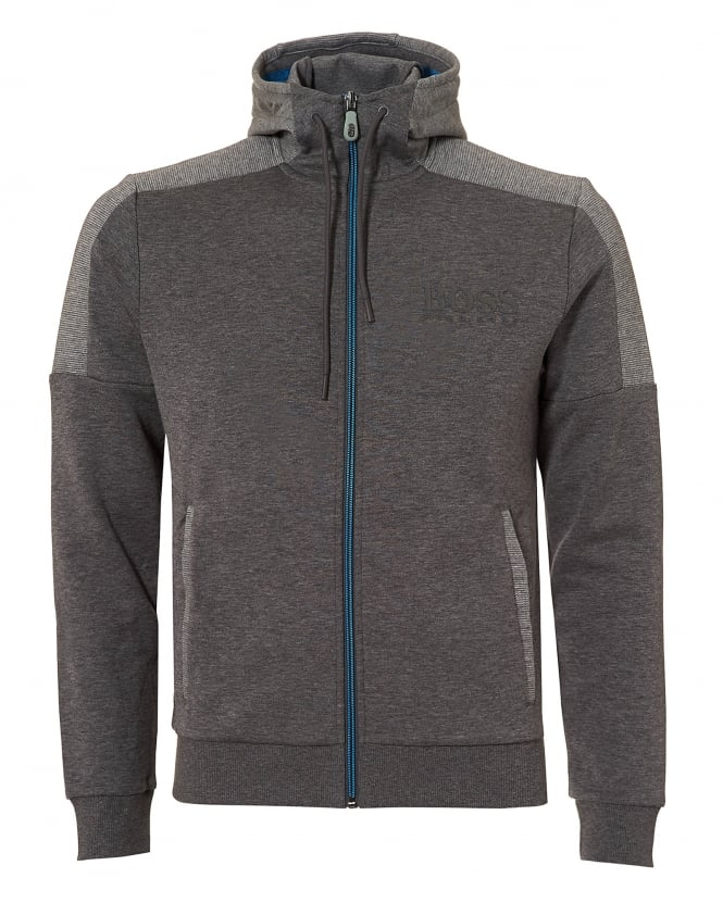 Hugo Boss Green Mens Saggy Hoodie, Contrast Zip Grey Jacket