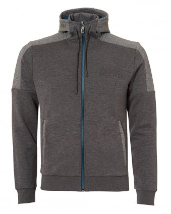 Mens Saggy Hoodie, Contrast Zip Grey Jacket
