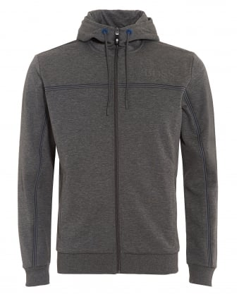 Mens Saggy Hoodie, Melange Grey Zipped Hooded Sweatshirt