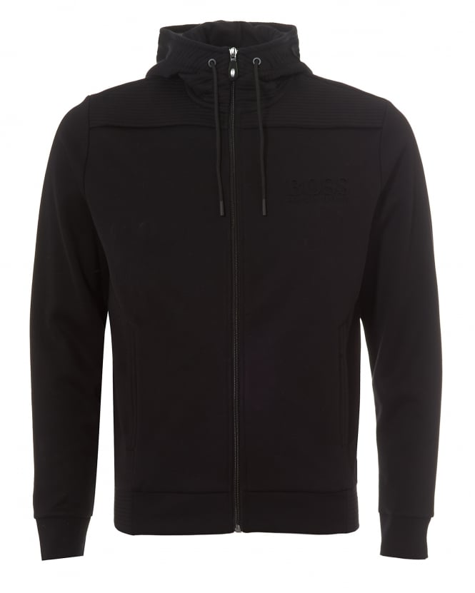 Hugo Boss Green Mens Saggy Hoodie, Zip Through Black Sweatshirt