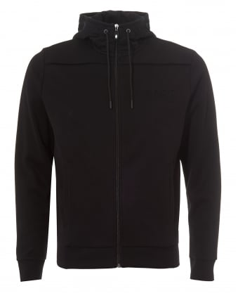 Mens Saggy Hoodie, Zip Through Black Sweatshirt