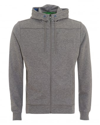 Mens Saggy Hoodie, Zip Through Grey Melange Sweatshirt
