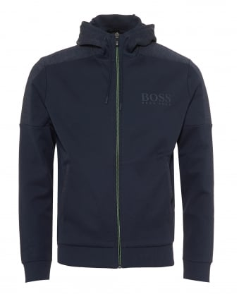 Mens Saggy Hoodie, Zip Through Navy Blue Hoodie