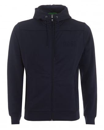 Mens Saggy Hoodie, Zip Through Navy Blue Sweatshirt