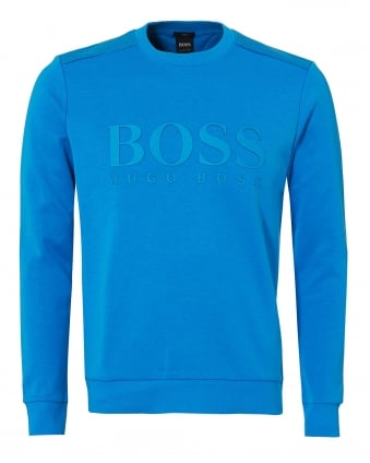 Mens Salbo Sweat, Large Logo Blue Astor Sweatshirt