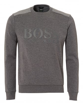 Mens Salbo Sweat, Large Logo Grey Sweatshirt