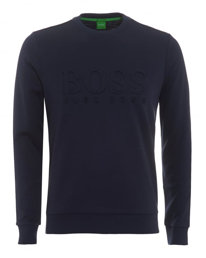 Hugo Boss Green Mens Salbo Sweatshirt, Crew Neck Navy Jumper