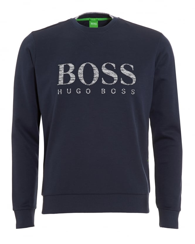 Hugo Boss Green Mens Salbo Sweatshirt, Dark Navy Blue Logo Jumper