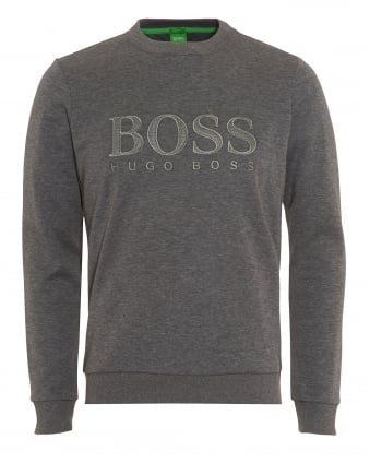 Mens Salbo Sweatshirt, Melange Grey Logo Jumper