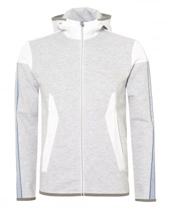 Mens Selnio Hoodie, Panelled White Hooded Sweatshirt