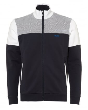 Mens Skaz 1 Track Top, Mesh Panels Navy White Zipped Sweatshirt