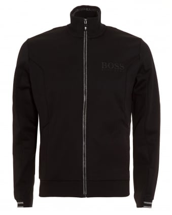 Mens Skaz Sweatshirt, Black Funnel Neck Track Top