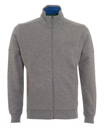 Mens Skaz Track Top, Ribbed Zip Grey Melange Jumper