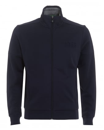 Mens Skaz Track Top, Ribbed Zip Navy Blue Jumper