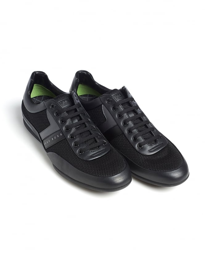 hugo boss green mens space lowp syme trainers black mesh sneaker. Black Bedroom Furniture Sets. Home Design Ideas