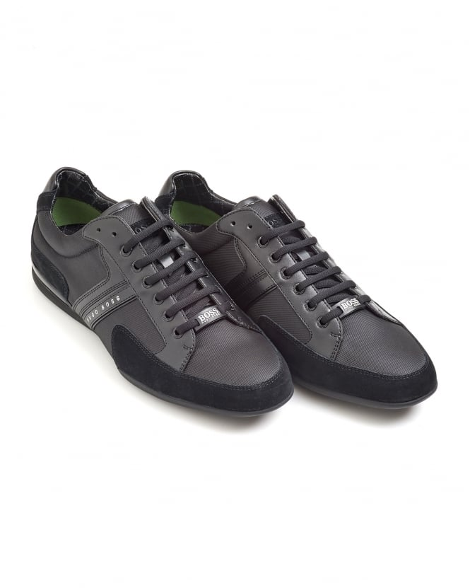 Hugo Boss Green Mens Spacit Trainer, Fabric Blend Black Sneakers