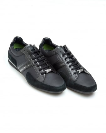 Mens Spacit Trainers, Nylon Leather Black Sneakers