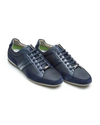 Mens Spacit Trainers, Nylon Leather Navy Sneakers
