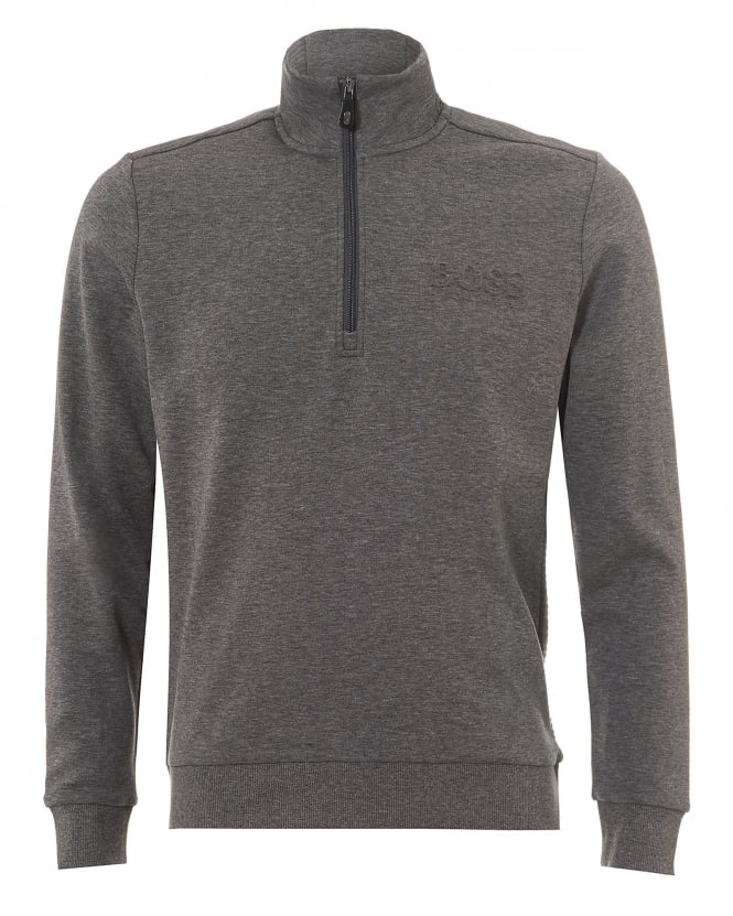 Hugo Boss Green Mens Sweat Track Top, Quarter Zip Mid Grey Melange Sweatshirt