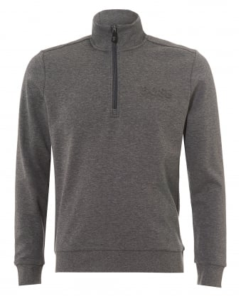 Mens Sweat Track Top, Quarter Zip Mid Grey Melange Sweatshirt
