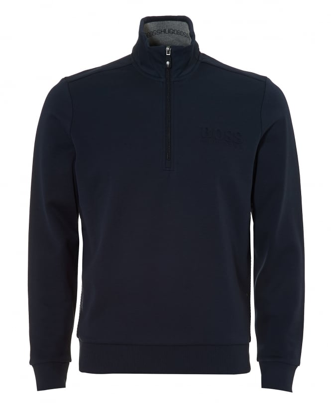Hugo Boss Green Mens Sweat Track Top, Quarter Zip Navy Blue Sweatshirt