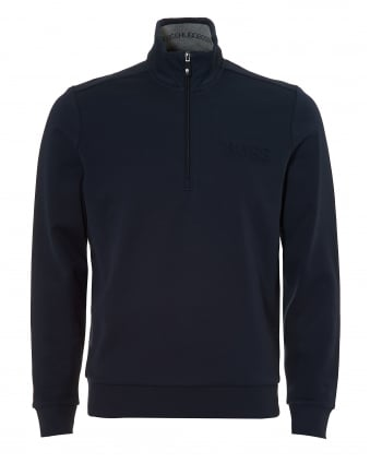 Mens Sweat Track Top, Quarter Zip Navy Blue Sweatshirt