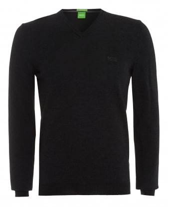 Mens Sweater, C-Callum_01 Black V-Neck Jumper