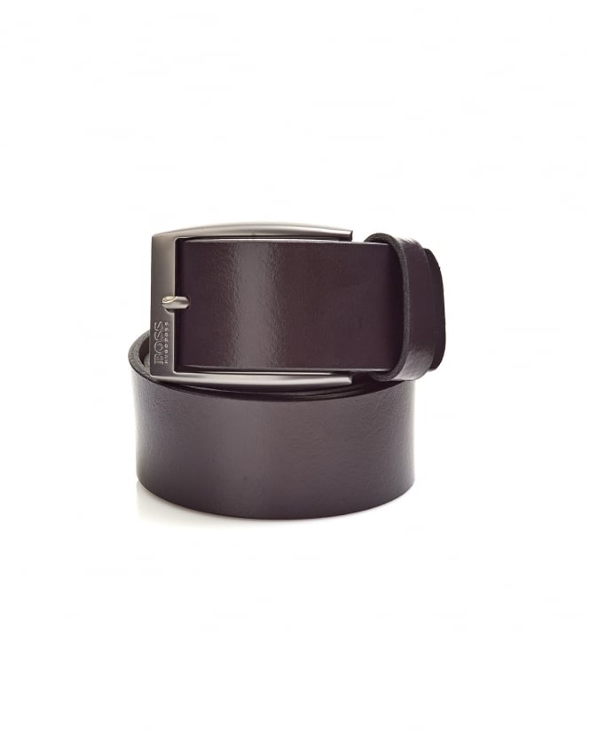 Hugo Boss Green Mens Tebe_Sz40 Smooth Italian Brown Leather Belt
