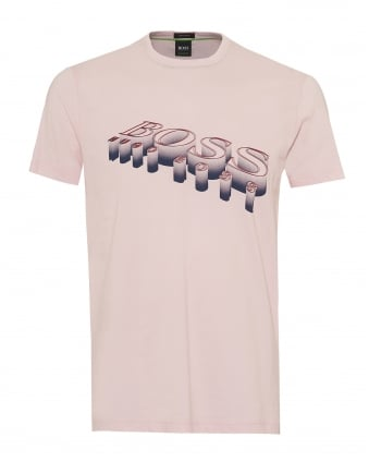 Mens Tee 2 T-Shirt, 3D Logo Graphic Pink Tee